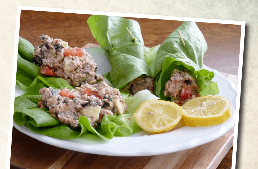 tonijnsalade met wraps van sla slank door de overgang
